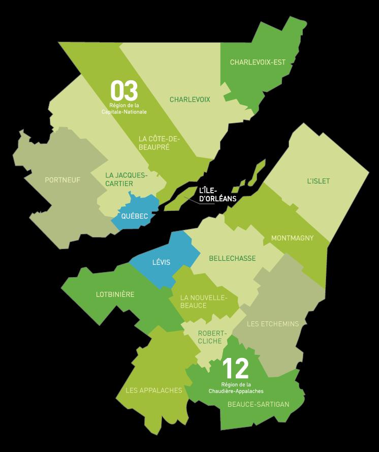 Parcs et espaces naturels des régions  de Québec et Chaudière- Appalaches